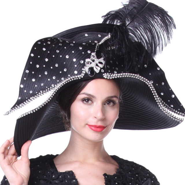 Women Church Hats Couture Hats For Special Occasion Special Hats Black  Color Wide Brim Large Size Feather Party Fedoras a8ea01d4ea1
