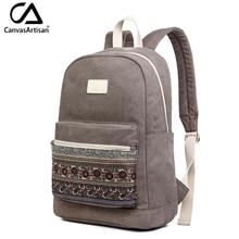 Canvasartisan Marke Neue Leinwand Rucksack Tasche für Frauen Vintage Stilvolle Beiläufige Laptop Reise Rucksäcke 2 Größe 13 zoll 15 zoll