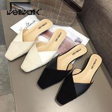 Wellwalk Heel Slippers Women Mules Elegant Heel Slides Women Designer Slippers Ladies Mules Small Heel Slider Shoes Square Toe