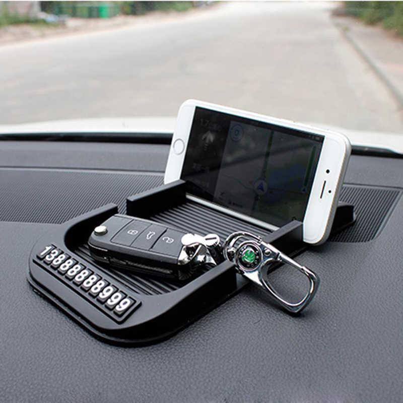 Tapete antiderrapante do painel do carro com número de telefone celular sílica gel almofada antiderrapante para toalhas de papel gps telefone acessórios do carro automóvel