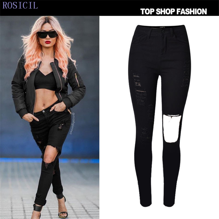 ROSICIL  Casual Women High Waist Skinny Denim Jeans Slim Ripped Pencil Jeans Hole Pants Female Sexy Girls Trousers TOP007-B rosicil women jeans plus size stretch skinny high waist jeans pants women blue pencil casual slim denim pants top 003