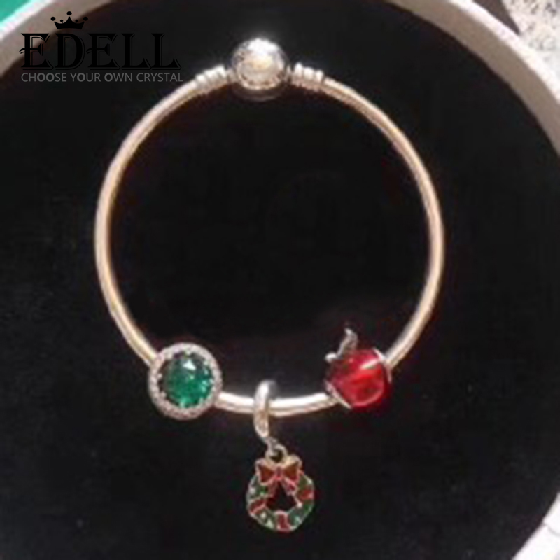 EDELL 100% 925 Sterling Silver Christmas Wishes Floral Apple Crystal Charm Bracelet Set Holiday Gift Original Jewelry zomgo stylish protective aluminum alloy bumper case for iphone 5 5s deep pink