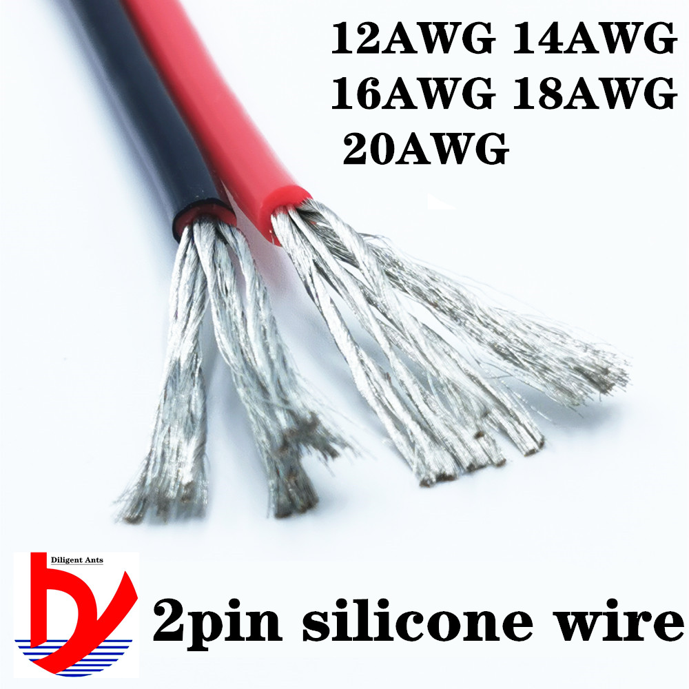 <font><b>2pin</b></font> extension cord 12AWG 14AWG 16AWG18awg <font><b>20AWG</b></font> silicone wire black and red 2 conductor parallel line soft and flexible image