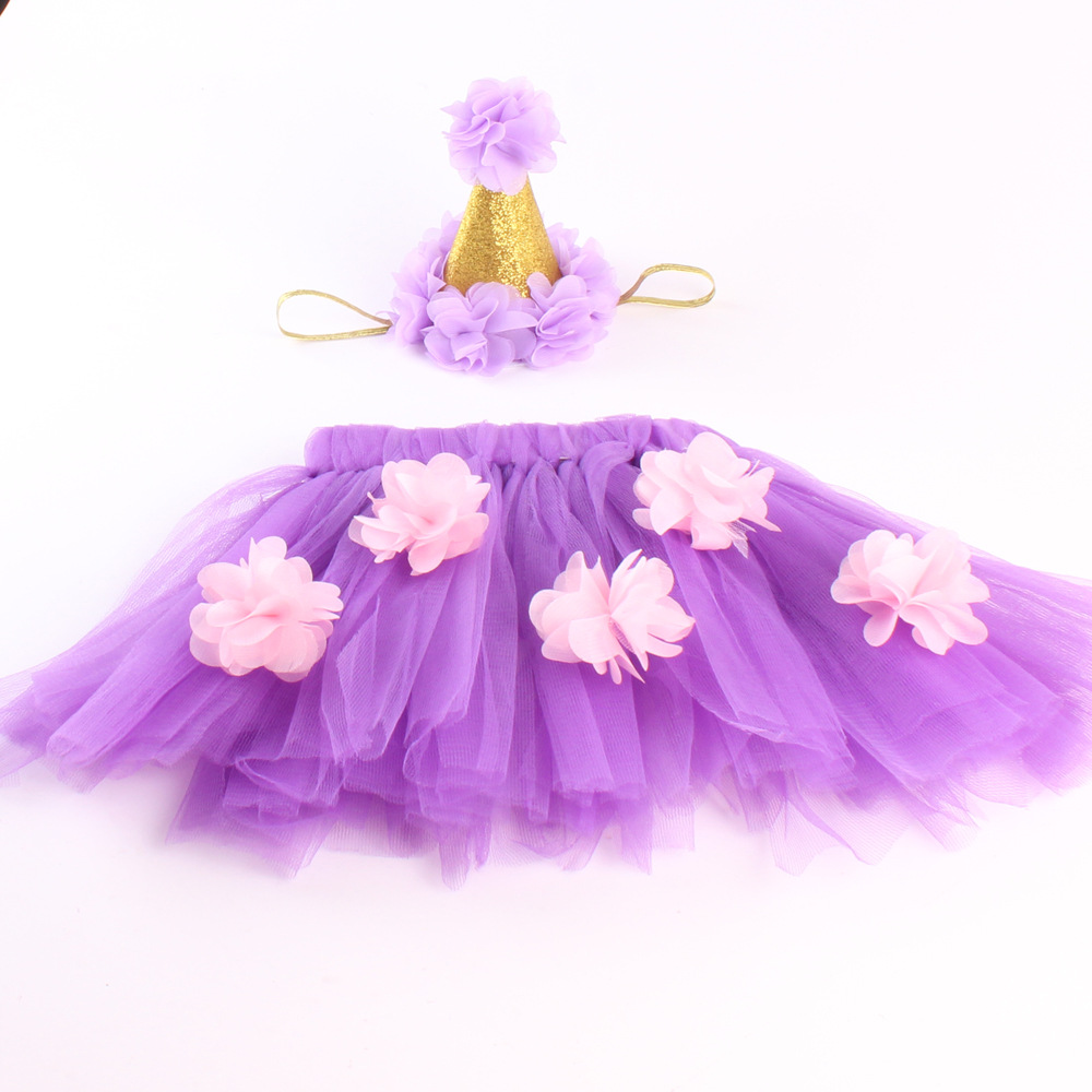 Retail Baby Girls Multi Layer Gauze Bubble Tutu Skirt With Pretty Crown Easy Blend Mini Chopper Gold Flower Headband Kids Children Clothing Photo Props