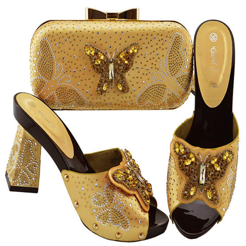 JZS-05 GOLD Crystal Italian Shoes with Matching Bags Set African Matching Shoes and Bag Italian In Women Nigerian Shoes and BagJZS-05 GOLD Crystal Italian Shoes with Matching Bags Set African Matching Shoes and Bag Italian In Women Nigerian Shoes and Bag