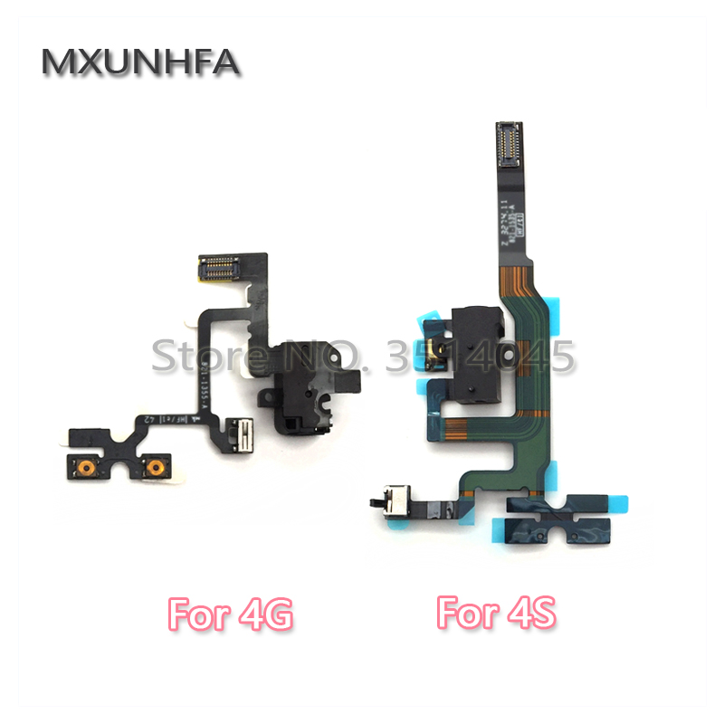 MXUNHFA Headphone Audio Jack Volume Button Flex Cable For IPhone 4 4G 4S Mute Silent Switch Connector Replacement Parts