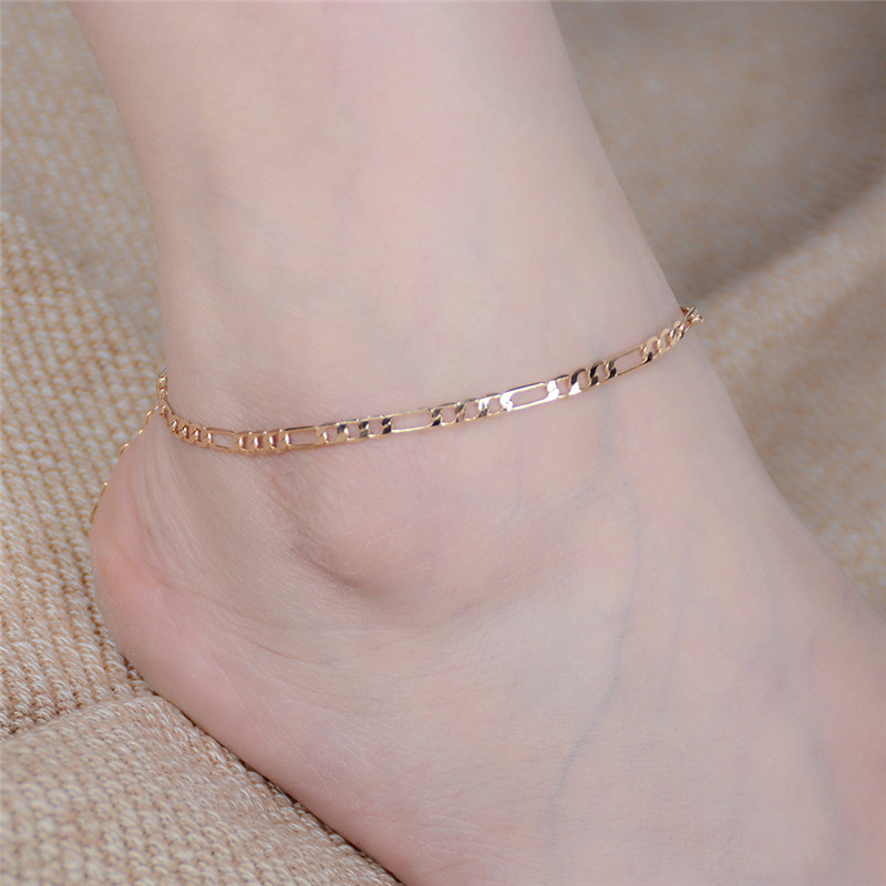 Fashion High Quality Alloy Gold Silver Color Anklet Foot Jewelry Ankle Bracelet Simple Figaro Chain For Female and Male 1 PCs