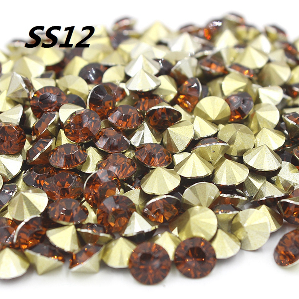 Free shipping Fashion SS12 1440pcs(10G) 3mm Brown Color Resin rhinestones Pointback for Nail Art /Garment/Shoes Decoration