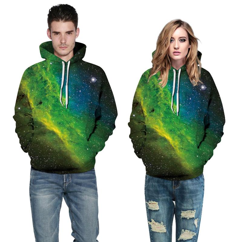 CFYH 2018 New Fashion 3D Hoodies Men/Women Hip Hop 3D Sweatshirts Print Green Stars Clouds Galaxy Hooded Hoodies