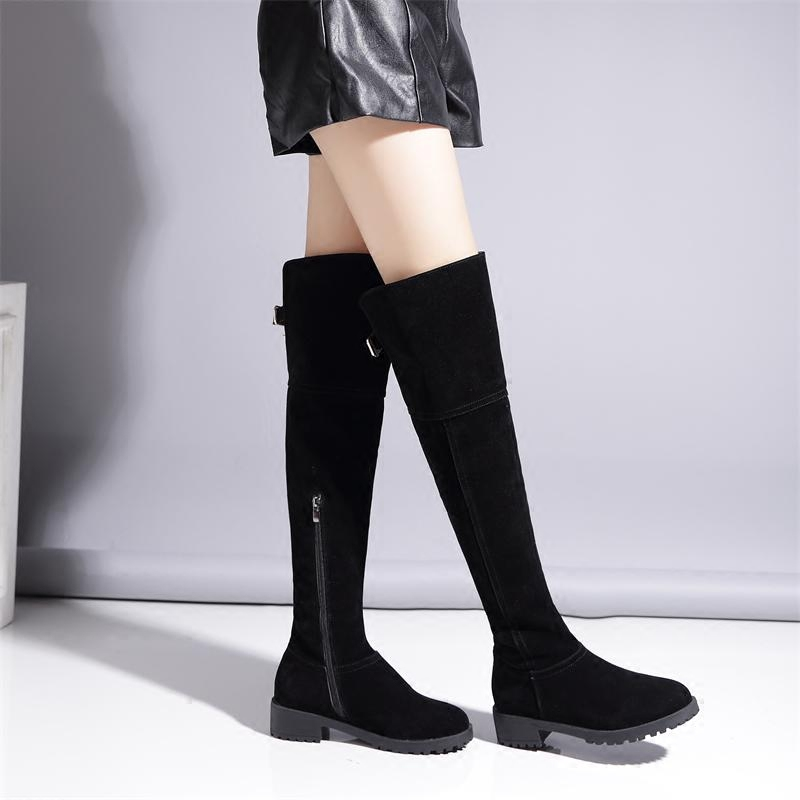2017 Over Knee women Boots Square Med Heel Women Boots Sexy fashion Ladies Lace Up Stretch Fabric Fashion Boots winter warm bota nemaone 2018 over the knee boots square med heel women boots sexy ladies lace up stretch fabric fashion boots black size 34 43