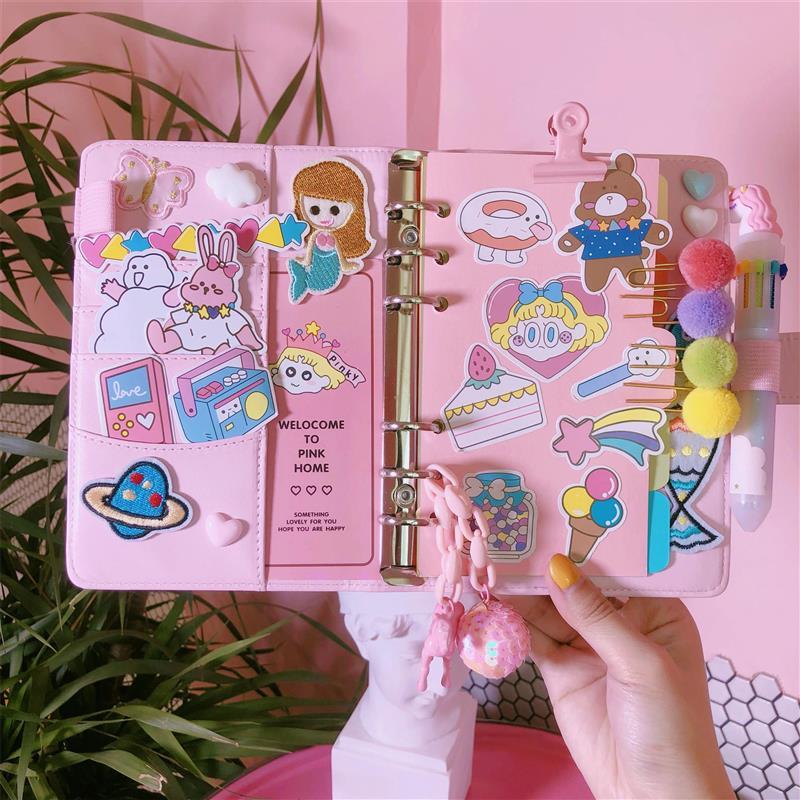 2019 Pink Cute Notebook Notepad Kawaii Planner Gift Set PU Leather Creative School Supplies Bullet Journal Notebook Stationery