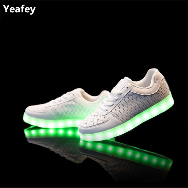 Yeafey Kids Led Shoes White Luminous Sneakers Children s Light Up Shoes  Size35-46 Kids Womens Illuminated Sneakers Glowing Shoes e40bda1a3f