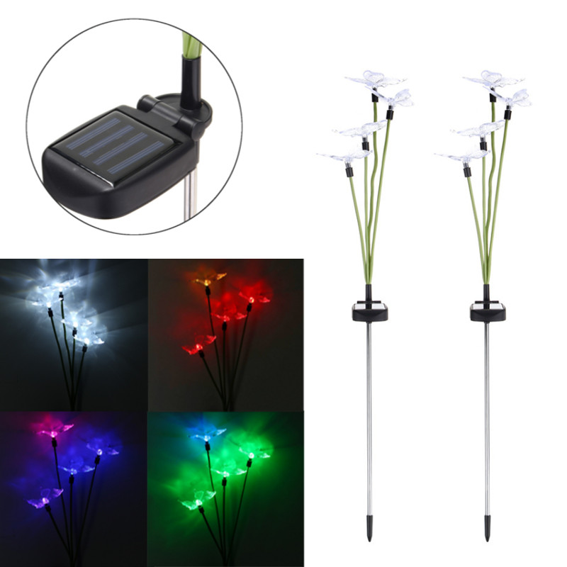 4 LED Lawn Light Solar Power Butterfly Flower Waterproof LED Solar Light Outdoor Garden Yard Landscape