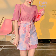 Sexy Two Piece Skirt Sets Pink Outfit Plus Size Long T-shirt and Camouflage Gradient Denim Skirt Summer Clothes for Women цена 2017