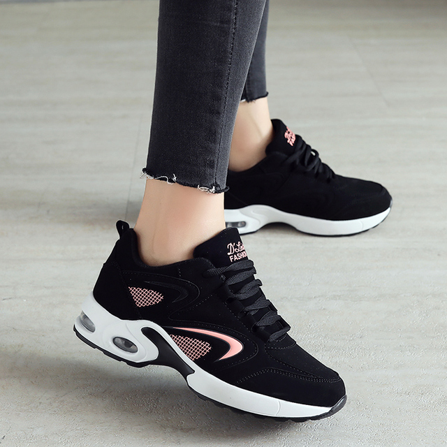Sneakers Women Running Shoes Cushion Sport Gym Shoes Woman Stylish Leather  Comfortable Sole Outdoor Walking Black de1fcc69a3ab
