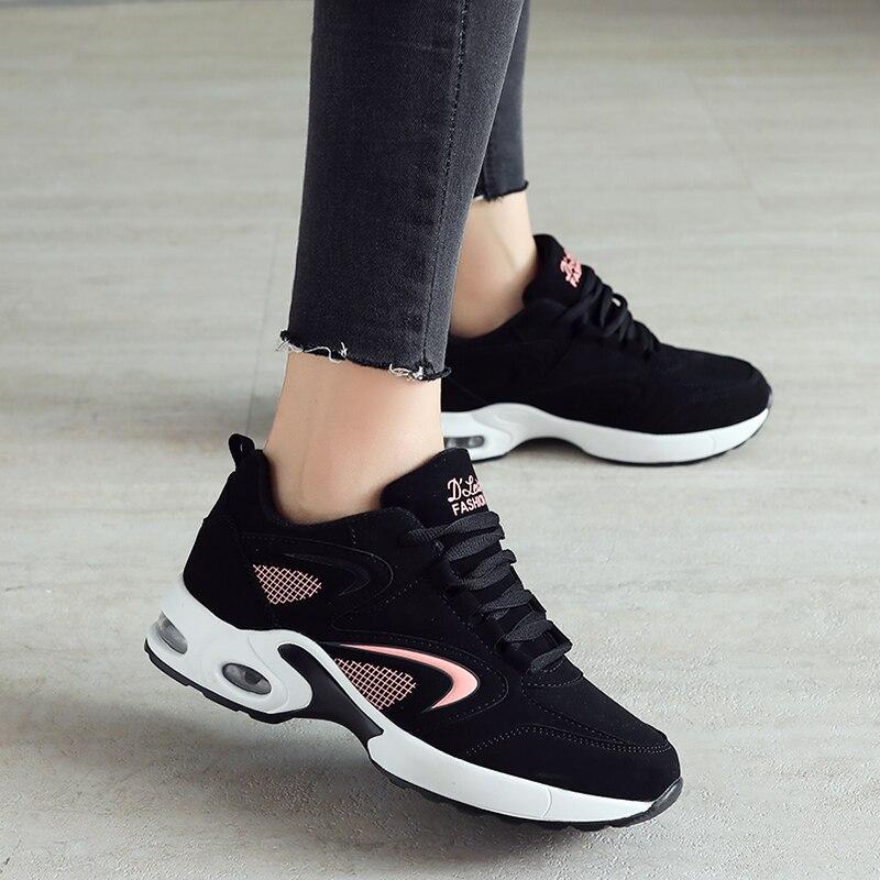 Zapatillas de deporte de las mujeres zapatos del Deporte Zapatos de mujer zapatos de cuero con estilo cómodo suela caminar al aire libre negro zapatillas de deporte mujer