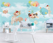 beibehang Custom Wallpaper Mural Modern cute animal elk hot air balloon children room wall TV Sofa Background 3d