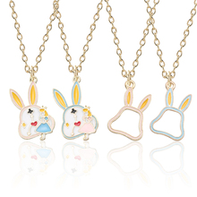 Fashion Simple Color Alice Rabbit Pendant Cute Sweet Alice Girl Necklace Personality Rabbit Border Pendant Necklace Jewelry Gift cute rabbit style rhinestone pendant necklace pink silver