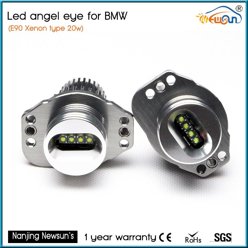 7000K Super Bright White E90 E91 Angel Eye Halo light Upgrade LED 20W angel eyes marker for bmw e90 e91 w/ xenon headlights rockeybright 12v 40w bright led marker headlight bulb for bmw e90 e90 lci 7000k white led angel eyes for bmw e90 led headlight