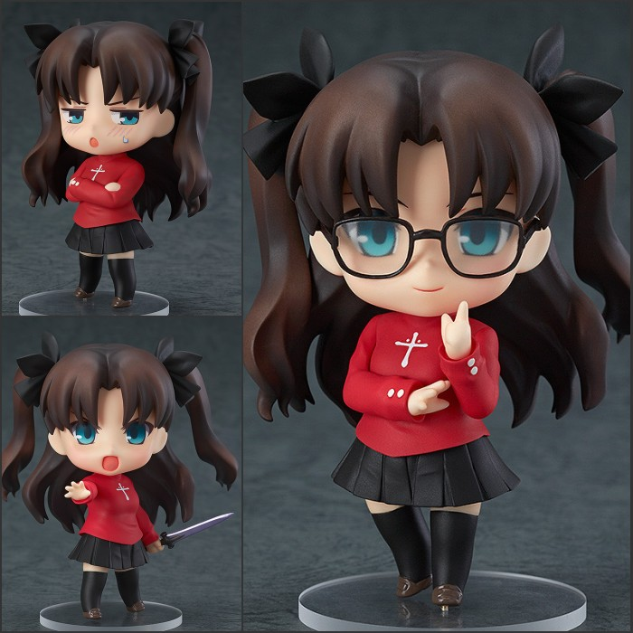 New Nendoroid Fate stay night Tohsaka Rin #409 PVC Action Figure Toy Doll 4 10cm KC0117 japan anime fate stay night action figure tohsaka rin 24cm pvc model toy with box collection cartoon painted figure doll toys