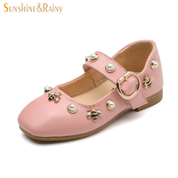 Sunshine Rainy Genuine Leather Girls Princess Shoes For School Party Wedding Casual Autumn Kids Leather Shoes