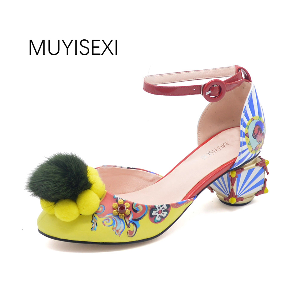 Mary Jane Shoes Women Graffiti Mink Hair Hair Ball Strange Style for Party Shoes plus size