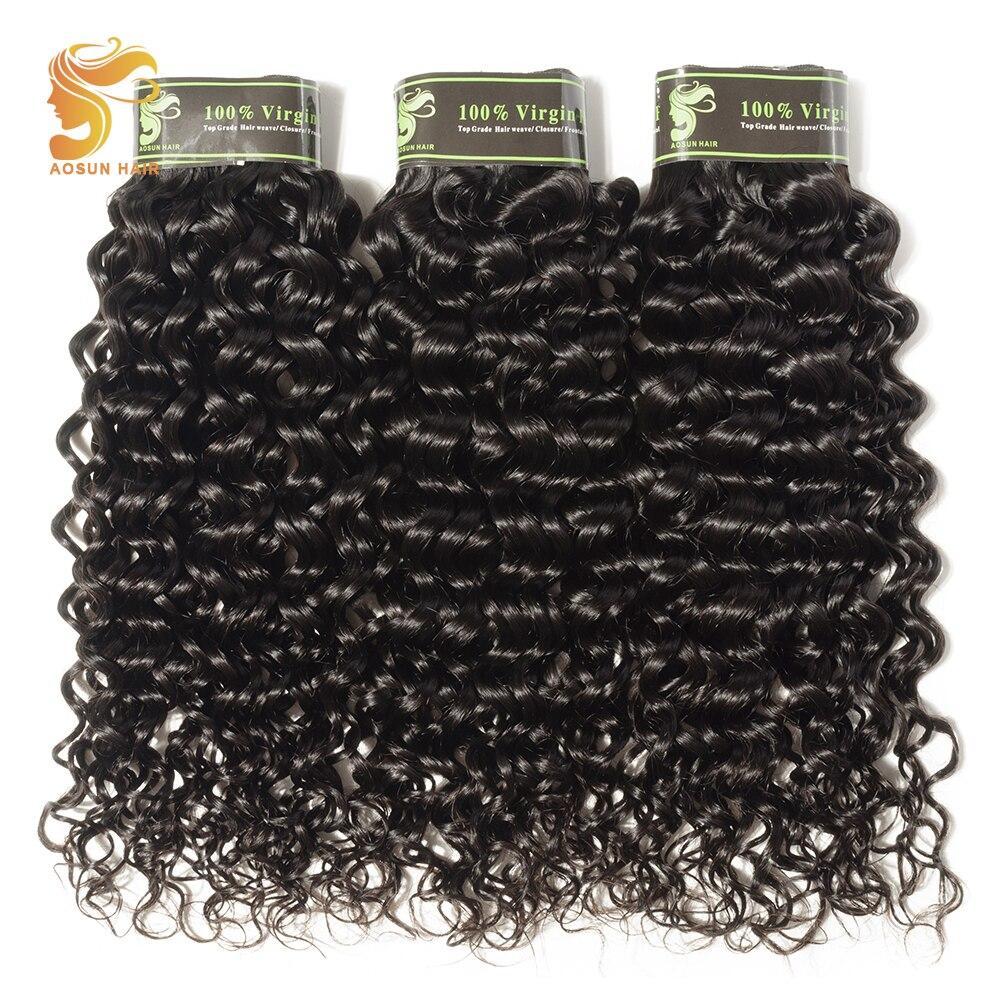 AOSUN HAIR Top Grade Brazilian Curly Hair Bundles Deals 100% Human Hair Italian Curly 3Pieces Natural Color Remy Hair Extensions