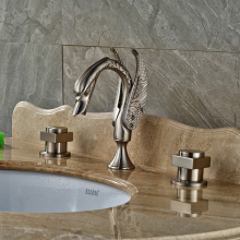 Luxury Double Square Handles Bathroom Faucet Deck Mount Brushed Nickel Swan Wash Basin Mixer Taps