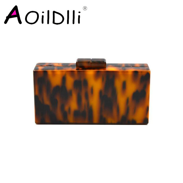 Leopard Pattern Acrylic Clutch Bag Retro Tortoiseshell Box Evening Bags Party Women Shoulder Crossbody Chain Purse HandbagsLeopard Pattern Acrylic Clutch Bag Retro Tortoiseshell Box Evening Bags Party Women Shoulder Crossbody Chain Purse Handbags