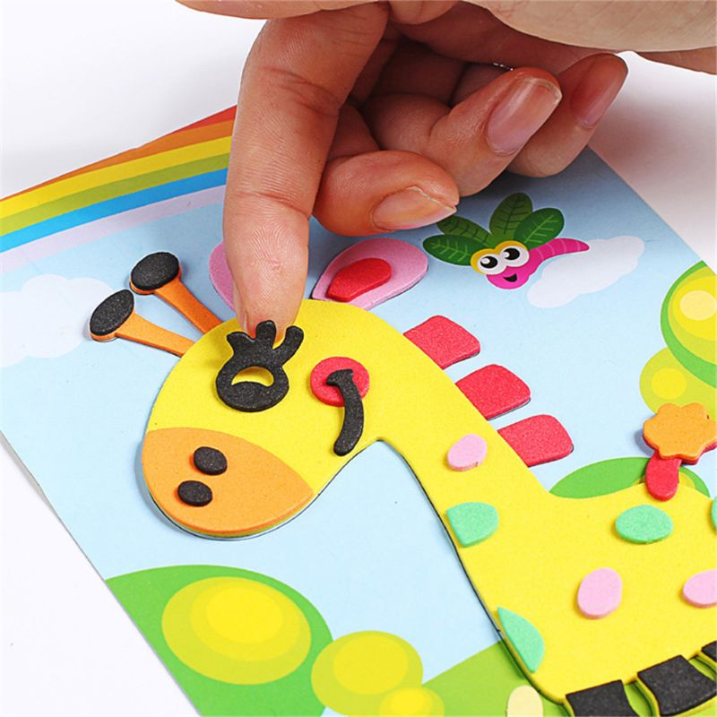 OOTDTY 10PCS 3D EVA Foam Sticker DIY Cartoon Animal Puzzle For Children Kids Multi-patterns Styles Education Toys