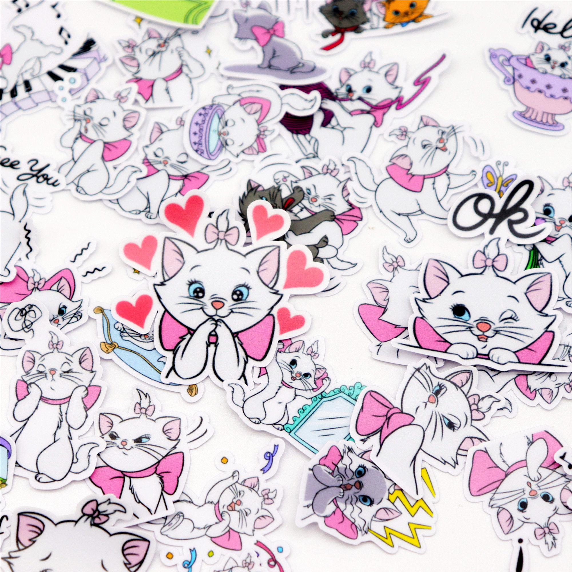 40pcs Creative Kawaii Self-made Cat Stickers/scrapbooking Stickers /decorative /DIY Photo Albums Waterproof/Notebook Diary