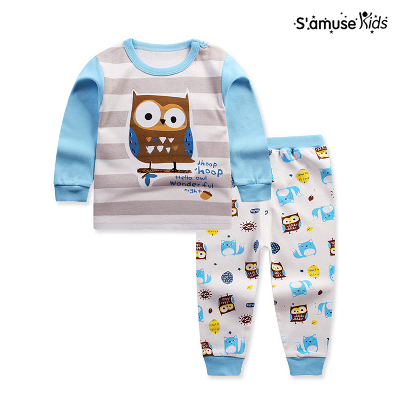 2017 Spring Animal Children's Clothing Sets Kids Clothes Owl Pajamas Girls T shirt Pants Baby Boys Suit Cotton Long Sleeve Suits mk kids baby clothes boys girls clothing suit cotton long t shirt