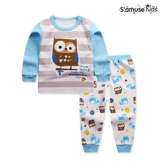 f4cd14c180ae6 2017 printemps Animal vêtements pour enfants ensembles enfants vêtements  hibou pyjamas filles T shirt pantalon bébé