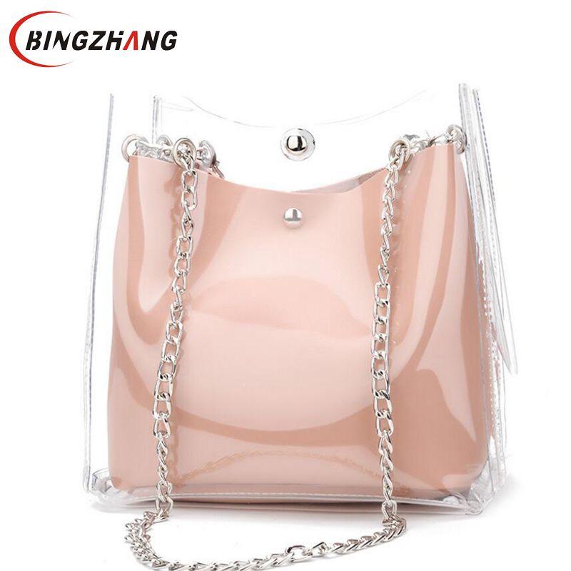 NEW Women Bag Set Transparent Shoulder Bag Clutch Fashion Chain Jelly Bag For Teenage Girls Beach Crossbody Bag Handbag L8-241 shoulder bag