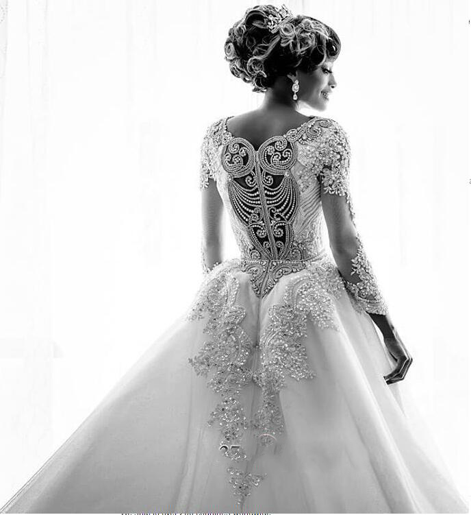 Gorgeous Long Sleeve Crystal 2019 Wedding Dresses Mermaid Overskirt Lace Bridal Gowns (1)