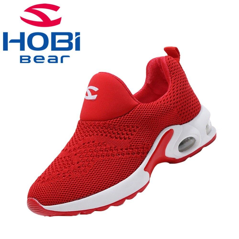 Chaussures de Sport pour enfants pour garçons filles chaussures de Sport pour enfants chaussures de Tennis baskets de course rouge noir sans lacet Hobibear GS3568