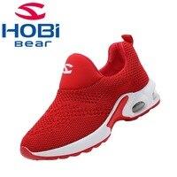 Kids Sport Shoes for Boys Girls Sneaker Shoes for Children Tennis Footwear Running Trainers Red Black Slip on Hobibear GS3568