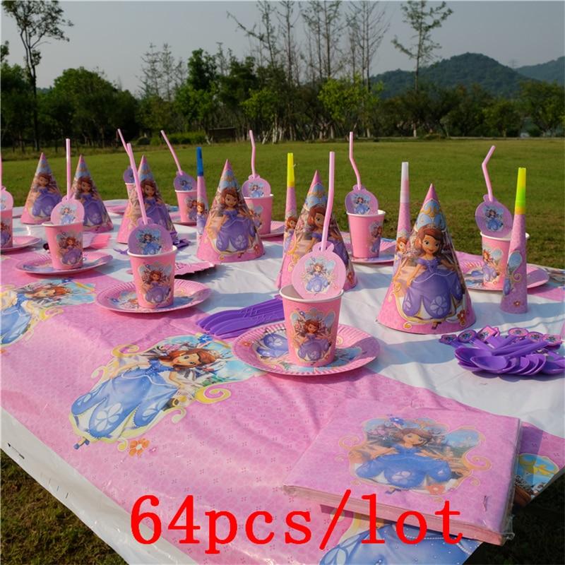 disney princess sofia theme design pink cups plates 64pcs. Black Bedroom Furniture Sets. Home Design Ideas