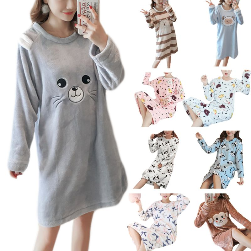 Womens Winter Thicken Flannel Long Sleeve Nightgown Cute Cartoon Animal Bear Printed Sleepwear Sweet Student Knee Length D25