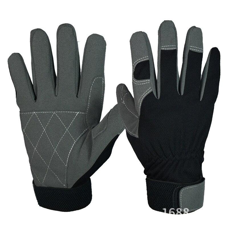Protective gloves microfiber anti-skid wearing gloves labor labor protection work super technician outdoor anti cut anti skid sun protection seal gloves gloves black