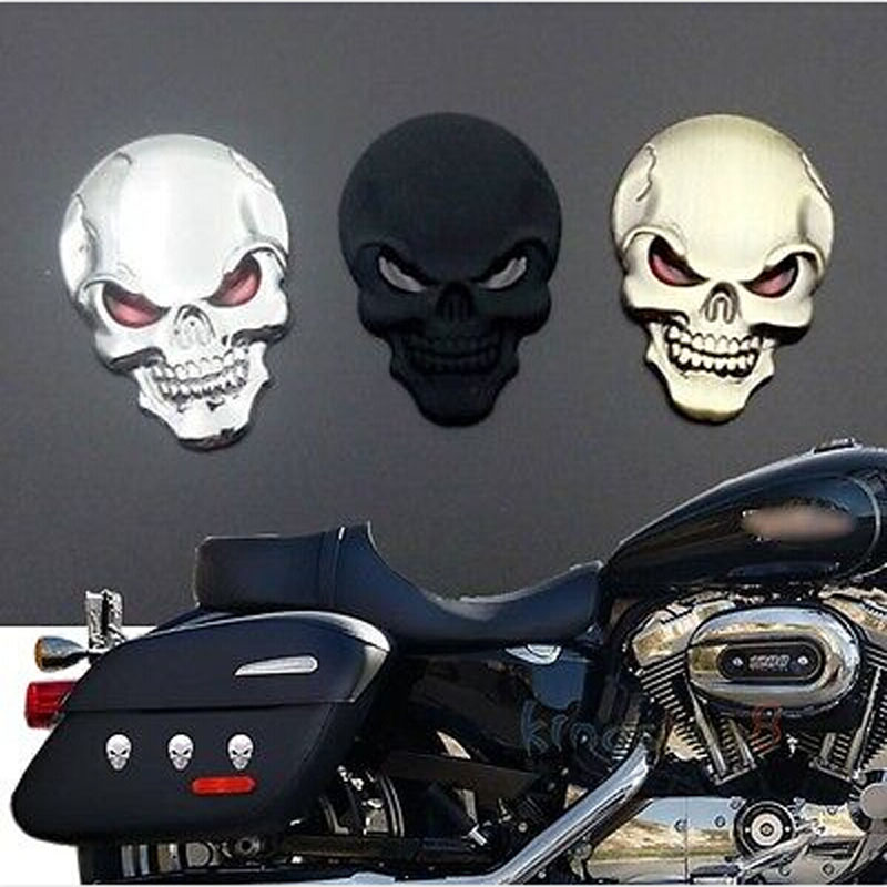2 color 3D Metal Gold Black Skull Skeleton Car Motorcycle Decal Stickers Emblem Badge Gold/Black car-styling New