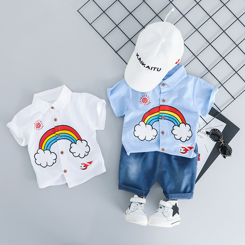 WENWENDEXINGFU 2019 Summer Baby Girls Boys Clothing Sets Infant Clothes Suits Rainbow Lapel Shirt Shorts Kids Children Costume