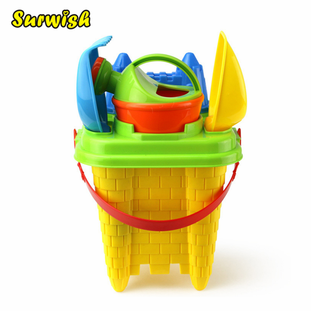 Surwish 6Pcs Summer Beach Toy Castle Set Children Safety Plastic Fancy Toys - Color Random