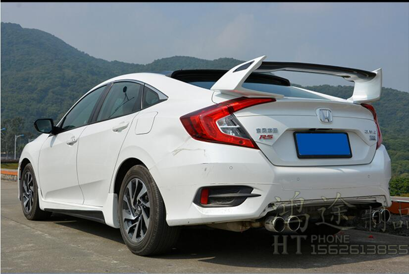 JIOYNG Carbon fiber + ABS CAR REAR WING TRUNK SPOILER FOR 16 17 Honda Civic 2016 2017 TypeR STYLE FAST BY EMS