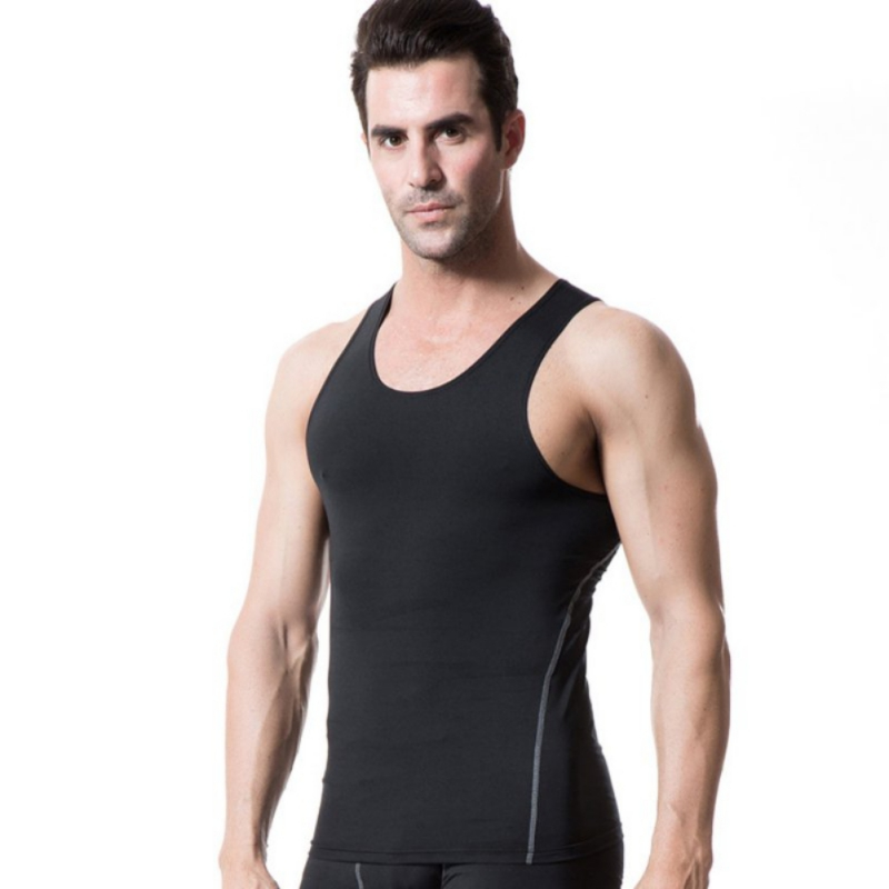 Mens Tight Sports Vest Shirt Wicking Breathable Running Training Vest Fitness Crop Top Undershirt