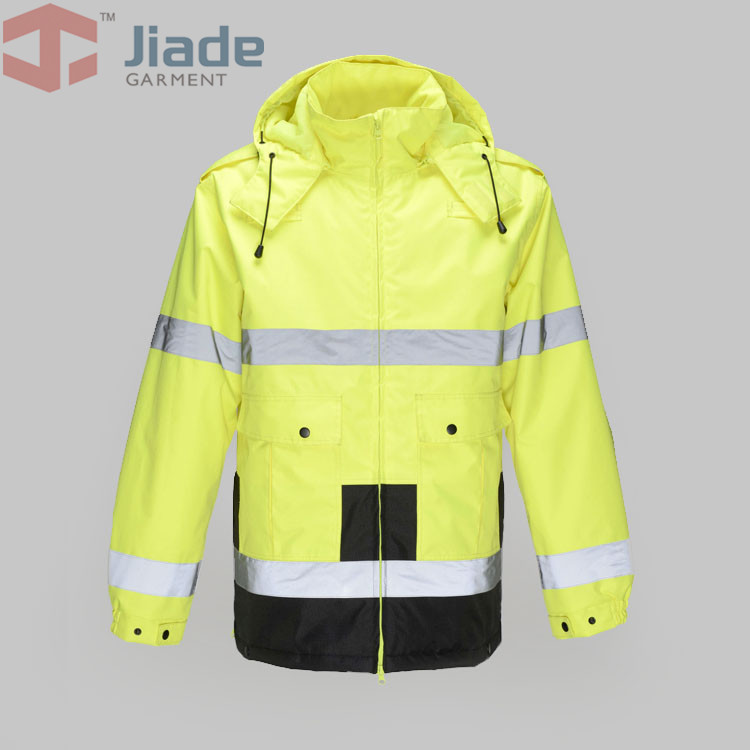 Jiade Adult High Visibility Winter Parka Long Jacket  Men's Work Reflective Winter Parka