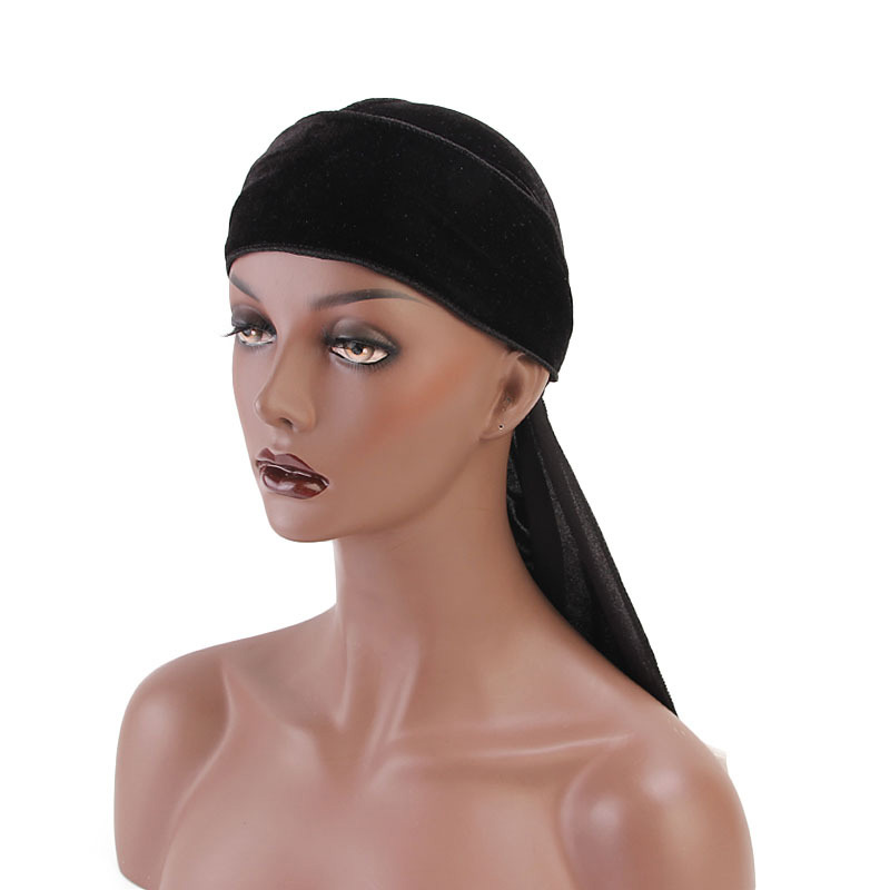 2019 New Rose Flower Embroidery Velvet Durag Cap for Men Women Solid Color Headwraps with Long Tail Du rag Waves Turban Hat in Women 39 s Hair Accessories from Apparel Accessories