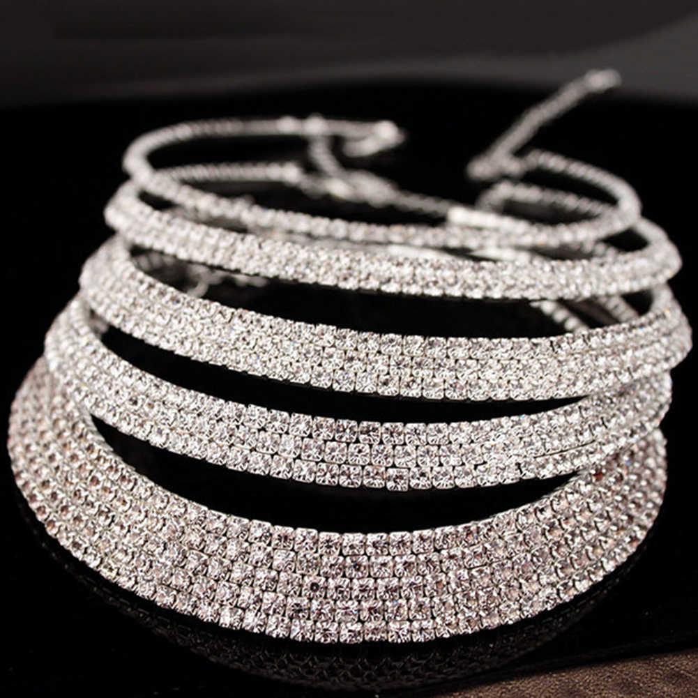 Partei Frauen Strass Halsband nigerian braut Halskette Ohrringe Armreif Hochzeit Partei Schmuck-Set Mutter der Tag collier africain