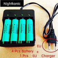 4 PCS18650 Battery 1 PCS EU US 4 Slot Charger Original 3 7V Li Ion Rechargeable