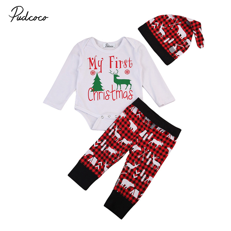 16c97240594a My First Christmas Newborn Baby Boy Girl Clothes Sets Long Sleeve Printing  Rompers + Cotton Deer Pants Hats 3PCS Outfits Set-in Clothing Sets from  Mother ...